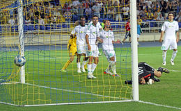 FC Metalist Kharkiv vs AC Omonia Nicosia match Royalty Free Stock Photo
