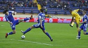 FC Metalist vs FC Ilyichevets (3:1) soccer match. KHARKIV, UKRAINE - APRIL 15:FC Metalist (Kharkiv) attacker Coelho Jakson (R) in action during soccer match vs Stock Images
