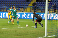 FC Metalist vs FC Obolon Kyiv football match Stock Photo