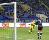 FC Metalist vs FC Obolon Kyiv football match Stock Image