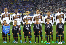 FC Porto players listen UEFA Champions League anthem. KYIV, UKRAINE - SEPTEMBER 16, 2015: FC Porto players listen official anthem before UEFA Champions League stock photo