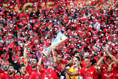 FC Sevilla club - the Winner of the UEFA Europa League 2015 Stock Photos