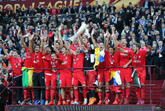 FC Sevilla club - the Winner of the UEFA Europa League 2015 Royalty Free Stock Photography