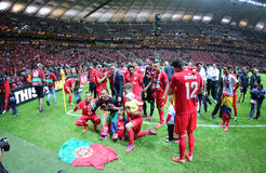 FC Sevilla players celebrate after winning UEFA Europa League Tr Stock Image
