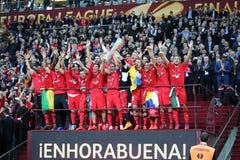 FC Sevilla - the Winner of UEFA Europa League 2015 Royalty Free Stock Photography