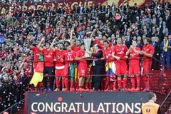 FC Sevilla - the Winner of UEFA Europa League 2015 Royalty Free Stock Photos
