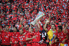 FC Sevilla - the Winner of UEFA Europa League 2015 Royalty Free Stock Images