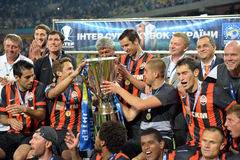 FC Shakhtar with cup Royalty Free Stock Images