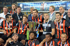 FC Shakhtar with cup Stock Photos