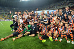 FC Shakhtar football team together Stock Photo