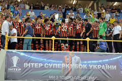 FC Shakhtar on the podium Royalty Free Stock Images