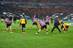 FC Shakhtar preparing for the match of the Champions League Royalty Free Stock Image