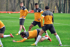 FC Shakhtar teram is doing stretching Royalty Free Stock Images