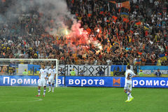 FC Shakhtar ultras lit fireworks Royalty Free Stock Photography