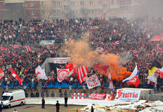 FC Spartak (Moscow) Team Fans in Action. Spartak (Moscow) soccer team fans are the most notorious and agressive fans in Russia Stock Image