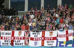 FC Stoke suportes da cidade mostram sua sustentação imagens de stock