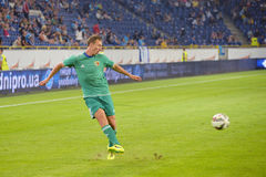 FC Vorskla footballplayer is making a pass Royalty Free Stock Photo