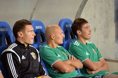 FC Vorskla players are watching the game Royalty Free Stock Photography
