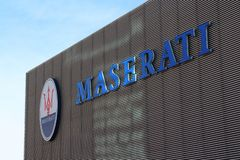 FCA Maserati factory, Modena, logo. MODENA - ITALY - JANUARY 2019 - FCA Maserati factory, Modena stock photo