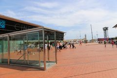 FCB Sport mall - Barcelona, Spain. Tourists enjoy at FCB Sport mall - Barcelona, Spain Stock Photo
