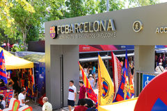 FCB Sport mall - Barcelona. Tourists enjoy at Sport mall - Barcelona , Spain Royalty Free Stock Photos
