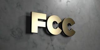 FCC - χρυσό σημάδι που τοποθετείται στο στιλπνό μαρμάρινο τοίχο - τρισδιάστατο δικαίωμα ελεύθερη απεικόνιση αποθεμάτων Στοκ φωτογραφίες με δικαίωμα ελεύθερης χρήσης