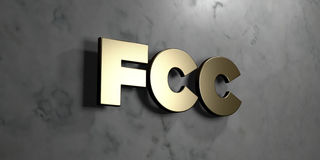 FCC - signe d'or monté sur le mur de marbre brillant - illustration courante gratuite de redevance rendue par 3D Photos libres de droits