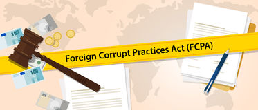 FCPA Foreign Corrupt Practices Act law regulation judge crime judicial enforcement conflict of interest agreement Royalty Free Stock Photography