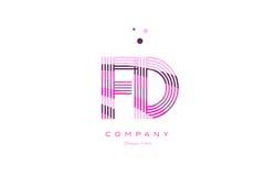 Fd f d alphabet letter logo pink purple line icon template vecto Stock Images