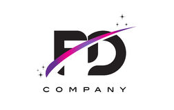 FD F D Black Letter Logo Design with Purple Magenta Swoosh Royalty Free Stock Photography