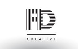 FD F D Black and White Lines Letter Logo Design. Stock Photos