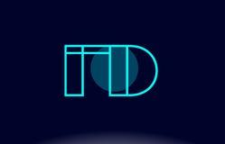 Fd f d blue line circle alphabet letter logo icon template vecto Stock Photos