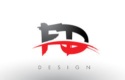 FD F D Brush Logo Letters with Red and Black Swoosh Brush Front Royalty Free Stock Photo