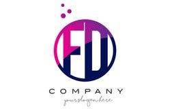 FD F D Circle Letter Logo Design with Purple Dots Bubbles Stock Image