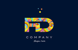 Fd f d colorful alphabet letter logo icon template vector Stock Images