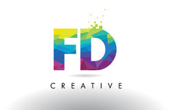 FD F D Colorful Letter Origami Triangles Design Vector. Stock Photo