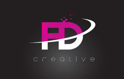 FD F D Creative Letters Design With White Pink Colors Royalty Free Stock Photos