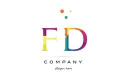 Fd f d  creative rainbow colors alphabet letter logo icon Stock Photos