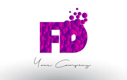 FD F D Dots Letter Logo with Purple Bubbles Texture. Royalty Free Stock Photos