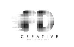 FD F D Letter Logo with Black Dots and Trails. Stock Photo