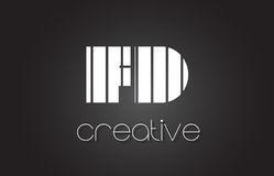 FD F D Letter Logo Design With White and Black Lines. Stock Images