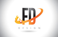 FD F D Letter Logo with Fire Flames Design and Orange Swoosh. Royalty Free Stock Photography