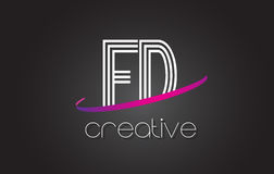 FD F D Letter Logo with Lines Design And Purple Swoosh. Stock Photos