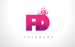 FD F D Letter Logo with Pink Purple Color and Particles Dots Des Royalty Free Stock Photos