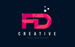 FD F D Letter Logo with Purple Low Poly Pink Triangles Concept Stock Photography