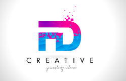 FD F D Letter Logo with Shattered Broken Blue Pink Texture Desig Royalty Free Stock Photo