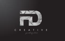 FD F D Letter Logo with Zebra Lines Texture Design Vector. Stock Image