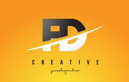 FD F D Letter Modern Logo Design with Yellow Background and Swoo Royalty Free Stock Images