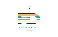 Fd f d line stripes pastel color alphabet letter logo icon templ Stock Photography