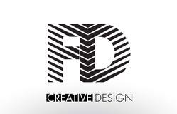 FD F D Lines Letter Design with Creative Elegant Zebra Stock Photo